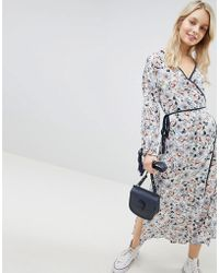 Glamorous - Midi Wrap Dress With Side Splits And Tie Waist In Floral - Lyst