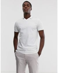 SELECTED - Pique Revere Collar Polo Shirt With Tipped Collar In White - Lyst