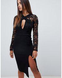 Love Triangle - Cut Work Lace Top Midi Pencil Dress In Black - Lyst