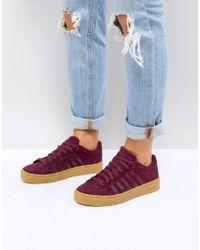 K-swiss - Court Frasco Trainers In Burgundy With Gum Sole - Lyst