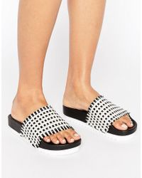 Sixtyseven - Multi Raffia Slide Flat Sandals - Lyst