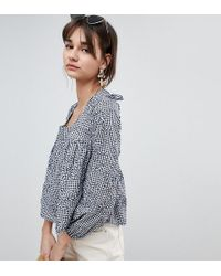 Reclaimed (vintage) - Inspired Square Neck Smock Top In Gingham - Lyst