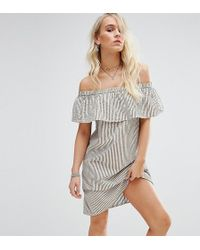 Noisy May Petite | Off Shoulder Striped Mini Dress | Lyst