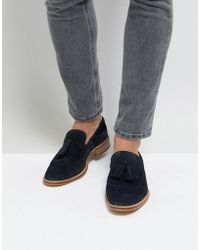 6c2eb480d79 ASOS - Asos Loafers In Navy Suede With Natural Sole And Fringe Detail - Lyst