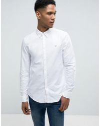 Farah - Brewer Slim Fit Oxford Shirt In White - Lyst