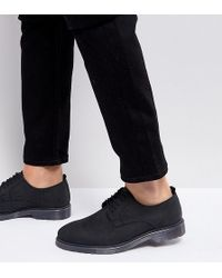 ASOS - Wide Fit Lace Up Derby Shoes In Black Leather With Ribbed Sole - Lyst