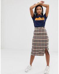 Daisy Street - Midi Skirt In Vintage Grid Check - Lyst