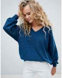 Weekday - V Neck Oversized Sweater In Petrol Blue - Lyst