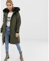 New Look - Multicoloured Fur Lined Parka - Lyst