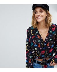 Reclaimed (vintage) - Inspired Faces Print Tie Front Shirt - Lyst