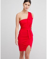 2110a22618c Vesper - One Shoulder Split Pencil Dress - Lyst