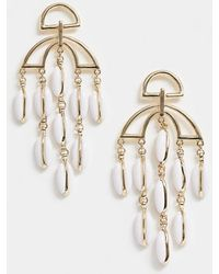 ASOS - Earrings With Cut Out Design And Resin Shell Strands In Gold - Lyst