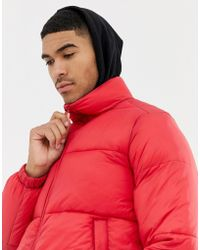 Pull&Bear - Puffer Jacket In Red - Lyst