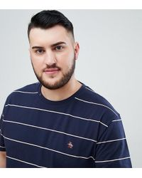 Original Penguin - Big & Tall Space Dye Stripe T-shirt Slim Fit Embroidered Logo In Navy - Lyst