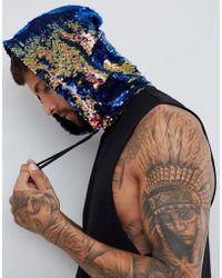 ASOS - Festival Longline Sleevless T-shirt With Mermaid Sequin Hood In Black - Lyst