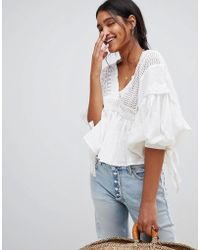 Free People - Drive You Mad Puff Sleeve Blouse - Lyst