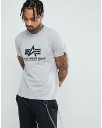 Alpha Industries - Logo T-shirt In Grey Marl - Lyst