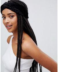 Monki - Velvet Headband In Black - Lyst