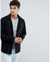 Jack & Jones - Premium Wool Mix Coat With Zips - Lyst