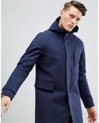 ASOS - Hooded Trench Coat With Shower Resistance In Navy - Lyst