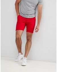ASOS - Skinny Chino Shorts In Red - Lyst