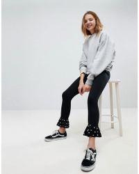 Bershka - Kick Flare Trouser With Pearl Detail - Lyst