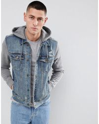 Hollister - Hooded Denim Jacket With Grey Sweat Sleeves And Hood In Mid Wash - Lyst