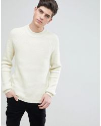 Mango - Man Ribbed Wool-blend Sweater In Ecru - Lyst