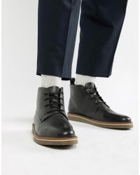 Dune - Lace Up Boots With Pebble Grain In Black - Lyst