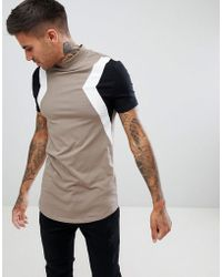 ASOS - Muscle Fit Longline T-shirt With Turtle Neck And Cut And Sew In Beige - Lyst