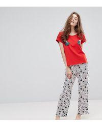 Monki - Christmas Tree Print Top Stripe Pyjama Set - Lyst