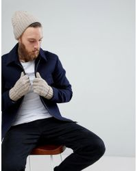 ASOS - Lambswool Fisherman Beanie & Gloves Boxed Gift Set In Camel - Lyst