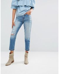 Abercrombie & Fitch - Cropped Girlfriend Jeans - Lyst