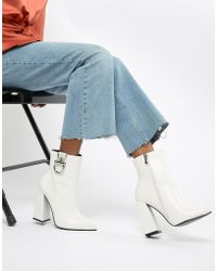 Public Desire - Forever White Silver Hardwear Boots - Lyst