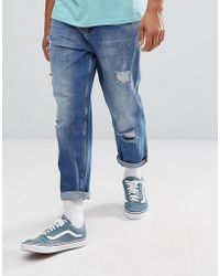 ASOS   Skater Fit Jeans In Mid Wash With Rips   Lyst