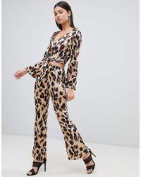 Club L - Leopard Print Wide Leg Pants - Lyst