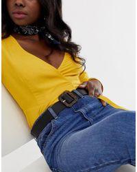 Glamorous Tortoiseshell Rectangular Buckle Black Waist And Hip Jeans Belt