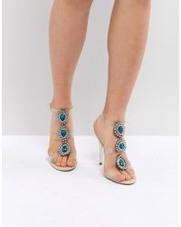 Betsey Johnson - Blue By Betsy Johnson Sylvi Clear Embellished Heeled Wedding Sandals - Lyst