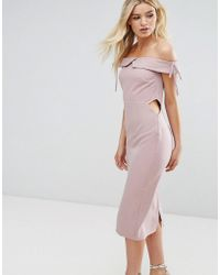 Oh My Love | Off Shoulder Midi Pencil Dress | Lyst