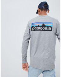 Patagonia - P-6 Logo Long Sleeve Responsibili-tee Top In Grey - Lyst
