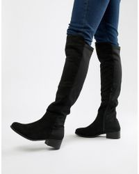 9b001ff901f Truffle Collection Chunky Heel Stretch Over Knee Boot in Metallic - Lyst