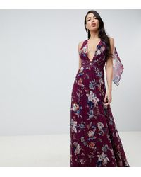0e22d45d0d ASOS - Asos Design Tall Pleated Maxi Dress With Tape Detail In Winter  Floral Print -