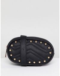 Yoki Fashion - Quilted Bum Bag In Black With Studs - Lyst