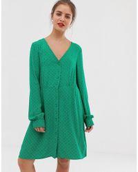 Vila - Spotty Long Sleeve Tea Dress - Lyst