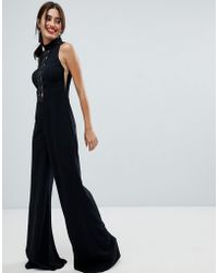 Forever Unique - Lace Insert Jumpsuit - Lyst