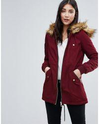 Lipsy - Longline Parka With Faux Fur Hood - Lyst