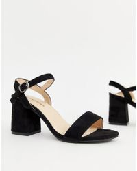 Glamorous - Black Block Mid Heeled Sandals - Lyst