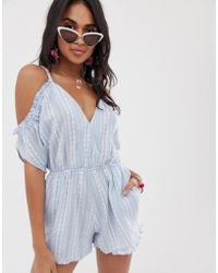 Accessorize - Cold Shoulder Embroidered Beach Playsuit In Blue - Lyst