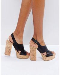 Mango - Cork Platform Sandals - Lyst