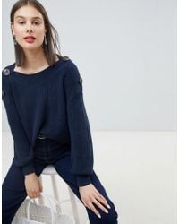Esprit - Button Detail Oversized Chunky Sweater - Lyst